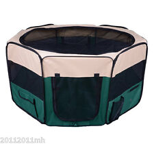"49.2"" Exercise Pet Playpen Portable Large Puppy Pen Kennel Green Promotion"