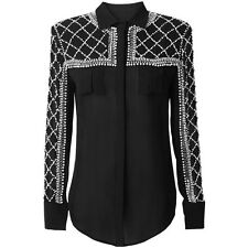 Authentic Balmain x H&M sheer beaded shirt size 10uk