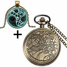 Doctor Who Gallifrey Tardis Necklace Pocket Watch &Fob Chain+Gift Box Jewelry