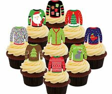 Ugly Christmas Jumpers - 36 Wafer Cupcake Toppers, Fairy Cake Bun Decorations