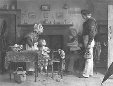 GROWN UP SAILOR SON RUNAWAY comes HOME to FAMILY ~ Old 1869 Art Print Engraving