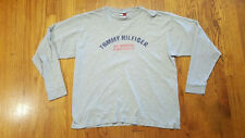 Tommy Hilfiger Gray SPELL OUT LS graphic t shirt LARGE VTG 90s made in USA