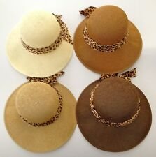 New Women's Cloche Mesh Straw Floppy Hat SPF50 Protection with Leopard Ribbon