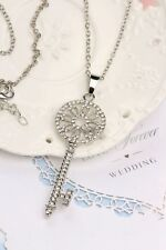 Hot Fashion Silver Cute Alice in Wonderland Key Costume Jewellery Necklaces Gem