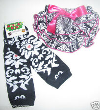 NEW  Baby girl Leg Warmers  0-24 MONTHS DAMASK diaper cover bloomer set
