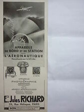 1936-1937 PUB JULES RICHARD APPAREIL AVION PLANIPHOTE ALTIMETRE THERMOMETRE AD