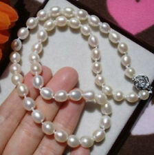 Natural 7-8MM WHITE Cultured FRESHWATER RICE PEARL NECKLACE 18""