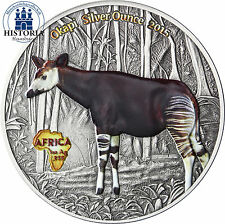 Africa série: Congo 1000 francs 2015 antique Finish Okapi silver ounce en couleur
