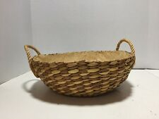 VTG HANDMADE WOVEN IN PHILIPPINES BASKET TWO HANDLES LABEL HOLDS BOWL CASSEROLE