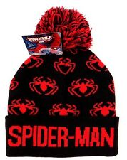Marvel Comics Ultimate Spider-Man Boy's Youth-Adult Graphic Winter Pom Hat NWT