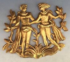 Art Noveau  French Gilded Bronze Plaque Adam And Eve by Schmidt