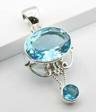 FACETED BLUE TOPAZ STONE 925 STERLING SILVER DROP NECKLACE PENDANT SIZE 1 3/4""