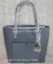 MICHAEL KORS MK JET SET LARGE Snap Pocket Tote Shoulder Bag Purse Dusty Blue