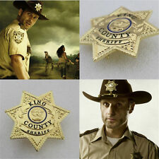 US Walking Dead King Country Sheriff Gold Plated Costume Prop Rick Grimmes BADGE