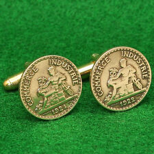 French Coin Cufflinks, Mercury Casuceus 50 Centimes France 3th Republic 1920s