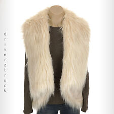 SIMPLY VERA WANG New SMALL/MEDIUM Cream FAUX FUR VEST Faux Suede S/M Ivory Beige