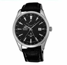 New Orient Automatic GMT SDJ05002B0 Mens Leather Watch Japan Black
