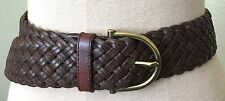 Ralph Lauren Women's Sz M Woven Chocolate Brown Leather Belt   Gold Buckle
