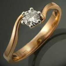 Bright DIAMOND 14K GOLD ENGAGEMENT RING solid yellow Val=$1910  Sz P1/2