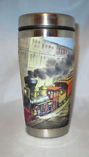 TRAINS Mugzie Travel Mug Water Proof Insulated Cover Beach Coffee Currier & Ives