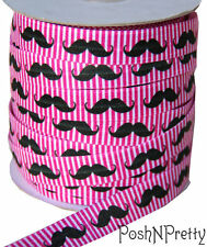 Designer 3 Yards 5/8 Print Fold Over Elastic Stretch FOE - Pink Mustache Lines