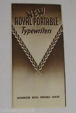New Royal Portable Typewriters Sales Brochure With Retail Prices 1940 Copyright.
