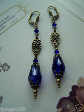VINTAGE STYLE BLUE LONG DROP EARRINGS Swarovski elements Cobalt