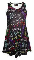 Kids / Girls Fun Maths Formula School Print Flare Skater Dress Size 5 -10 Years