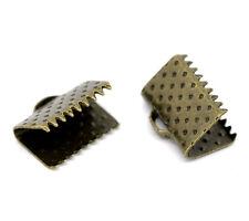 Lot 10 Embout Ruban Bronze 10mm x 8mm Griffe Metal a Ecraser Serre Ruban