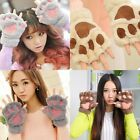 New Warm Winter Women's Paw Girl Gloves Fingerless Fluffy Bear Cat Plush Paw