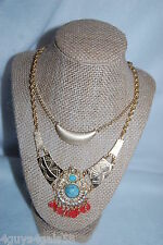 Costume Jewelry LOT OF 2 NECKLACE Native American Look TURQUOISE ORANGE Silver