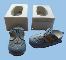 PAIR OF 3D BABY BOY BUNNY RABBIT SHOES SILICONE MOULD CAKE TOPPERS CHOCOLATE ETC