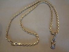 VINTAGE STERLING SILVER ROPE CHAIN WITH STERLING SILVER PENDANT WITH DIAMONDS-GO