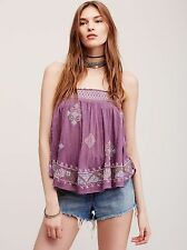 122093 Nw $108 Free People You Got It Bad Embroidered Smocked Tube Blouse Top XS