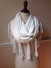 Women's Chunky Cable Knit Long Infinity Scarf Fringe Tassel  Cowl Wrap Winter
