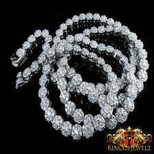 WHITE LAB SIMULATED DIAMOND MEN WHITE GOLD FINISH CLUSTER FLOWER NECKLACE CHAIN