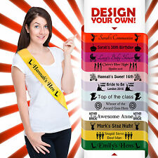 PERSONALISED HEN PARTY NIGHT DO SASH 18TH 21ST 30TH BIRTHDAY GIFT IDEA*