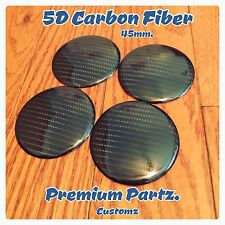 45mm Carbon Fiber Center Cap Stickers Universal Black Custom 5D 4PC Set New USA
