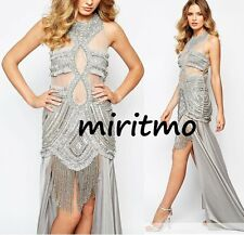 STAR IS BORN MAXI DRESS GREY EMBELLISHED ILLUSION CREPE LUXE MESH TOP UK8