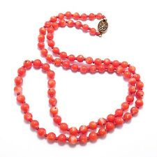 BEAUTIFUL 5MM CHINESE CORAL NECKLACE OLD GOOD COLOR