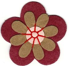 """2"""" Peasant Red Brown Earth Suede Two Layer Flower Iron on patch"""