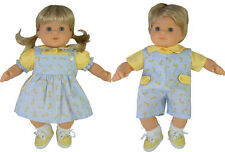 Matching Boy + Girl Light Blue Giraffe Outfits for Bitty Baby Twins Doll Clothes