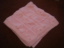NEW Hand-Made Baby Girls Pink Knitted Pattern Blanket - James C Brett Wool Yarn