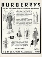 PUBLICITE BURBERRYS  MANTEAUX ROBES FASHION  ART DECO  AD  * 1926