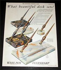 1927 OLD MAGAZINE PRINT AD, WHAL EVERSHARP PENS, WHAT BEAUTIFUL DESK SETS, ART!