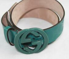 AUTH $355 Gucci Men Green GG Guccissima Belt With Interlocking G Buckle 115/46