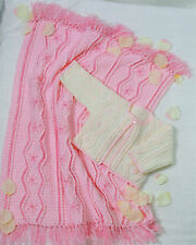 "Baby Knitting/ Crochet Patterns 4ply  Cardigan and  Blanket 16-22"" inch #220"