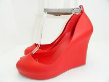 Melissa Women's Patchuli Red Strap Peep Toe Wedge Size 8
