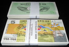 LOT OF 100 PCS. PARTIALLY-ENGRAVED ABNC AUSTRALIA $5 WORLD EXPO 88 NOTES - UNC!