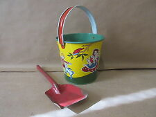 1940s Mary Had a Little Lamb US Meda Tinl Sand Pail with Shovel